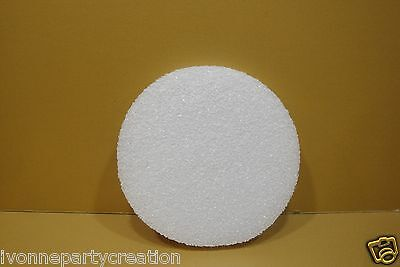 """2 WHITE STYROFOAM 6"""" ROUND DISC 3/4"""" THICK FOR CRAFT PROJECTS"""