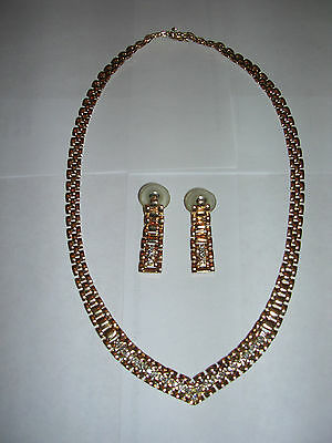 Vintage 14K Yellow Gold & Diamond Necklace & Earring Set Excellent Condition