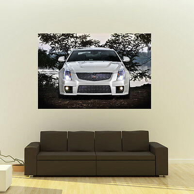 Cadillac White Front CTS-V Giant HD Poster Sport Coupe Huge Print 54x36 Inches