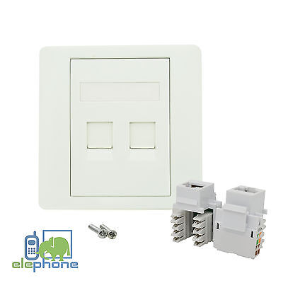 2 Port CAT5e RJ45 Network Faceplate Face Plate Single Gang Wall Socket