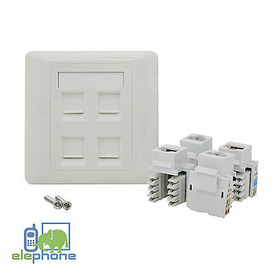 4 Port CAT5e RJ45 Network Faceplate Face Plate Single Gang Wall Socket