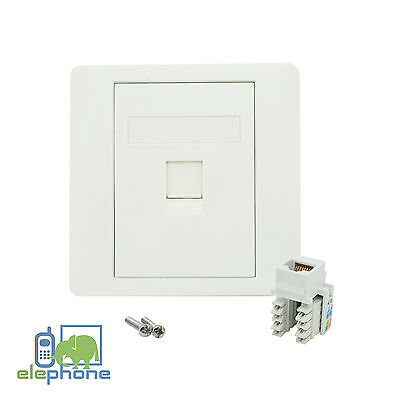 1 Port CAT6 RJ45 Network Faceplate Face Plate Single Gang Wall Socket