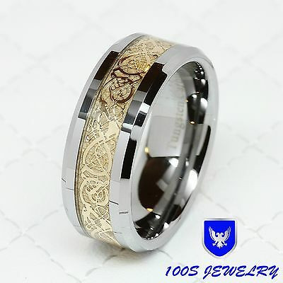 8MM Tungsten Carbide Gold Celtic Dragon Inlay Men's Ring Wedding Band Size 8-14