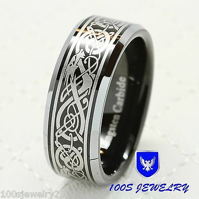 8MM Tungsten Ring For Men Celtic Dragon Scroll Engraved Wedding Band Size 8-15