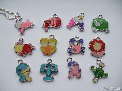 """Zodiac Charm Pendant with Silver Plated Chain  18""""-REDUCED TO CLEAR £1.00 EACH"""