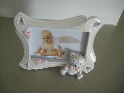 6 Pink Ceramic 3D Teddy Bear Photo Frame Baby  Christening Baptism Favour