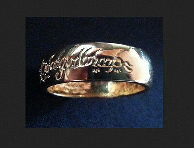 "LORD OF THE RINGS ring (gold plated) ""One Ring"" LOTR ux"