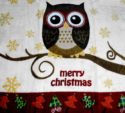 Kitchen Dish Towels W/ Crochet Tops - Thick - Listing T400 Christmas Owl