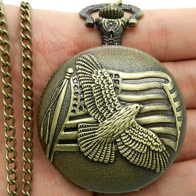 Bronze Peace  Pigeons Pocket Watch Necklace Pendant Chain Xmas 556 Gift P113