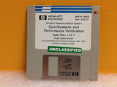 HP 08510-10032 Rev A.02.01, HP 8510 Series Spec. & Verification Performance Disk