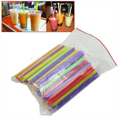 New 100 Plastic Jumbo Large Drinking Straws For Cola Drink Smoothie Party Supply