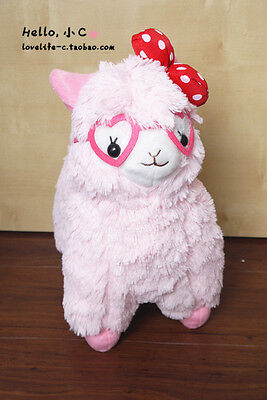 "4"" Alpacasso Arpakasso PINK Llama Plush Pendant Doll Fluffy Toy Glasses Dot Bow"