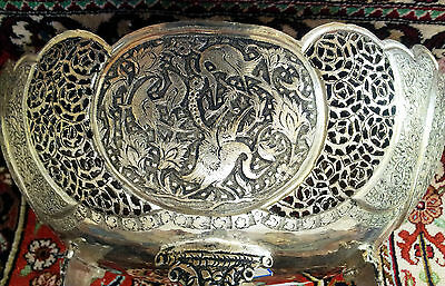 Antique Museum Quality  Persian  Solid Silver Footed Serving Bowl