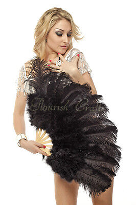 "primary Burlesque 21""x 38"" Black Marabou Ostrich Feather fan with carrying case"