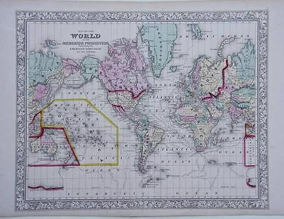 1860 World - Large Antique Mitchell Map - America At Its Centre, Usa, Capt Cook