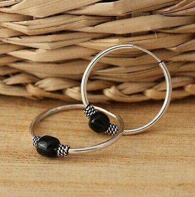 Solid 925 Sterling Silver Sleeper 18mm Round Hoop with Balls Earrings Jewellery