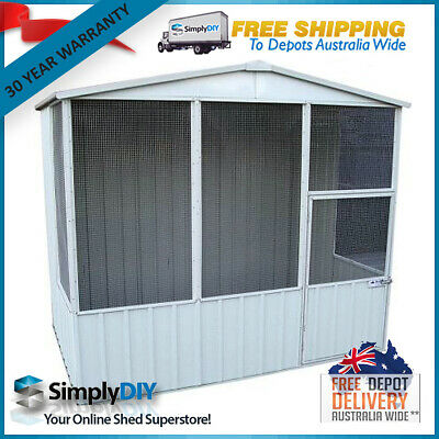 ABSCO BIRD AVIARY 2.26mW x 2.26mD GABLE ROOF DOG CAGE HIGH QUALITY ZINCALUME NEW