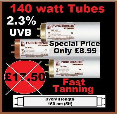 10 x  BRAND NEW PURE BRONZE 140 WATT 5ft FAST TANNING 2.3% SUNBEDS LAMPS TUBES