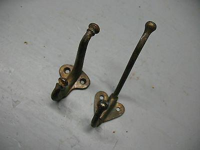 Antique   Coat  Hooks  (2)  Cast  Iron  &  Steel  Vg