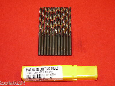 "Morse 80596 5/32"" Marxman Jobber Length Drill Bit Bits USA 80596 LOT OF 12"