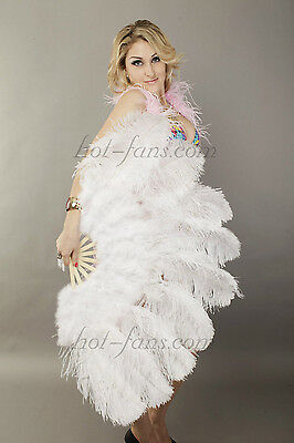 "White Ostrich & Marabou Feathers fan Burlesque dance with carrying case 24""x43"""