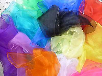 Chiffon Scarf Hair Scarves Sheer 50s Rockabilly PinUp Square Red Black Pink Blue