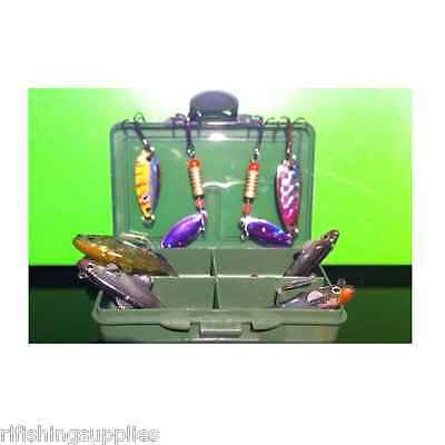 8 Pc Perch Chub Pike Fishing Spinners Set Lures Soft Baits In Tacklke Bit Box