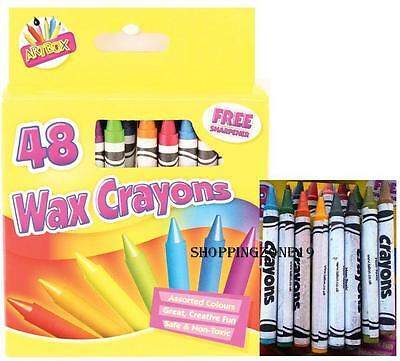 48 Wax Crayons Set with Sharpener Assorted Colours for Children/School/Kids/Arts