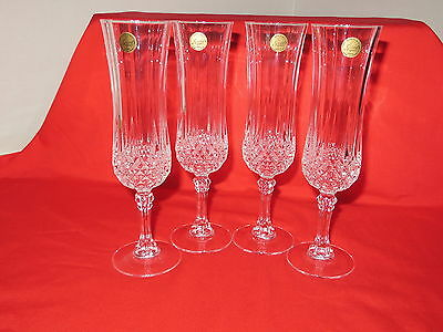 """Champagne Flutes (4)  by Cristal D'Arques Longchamp Pattern 8"""" Tall New (NOS)"""