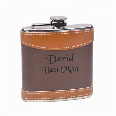 Engraved 6oz Steel Hip Flask Brown GENUINE LEATHER 2 tone PERSONALIZED