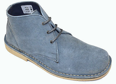 Men's Dusty Blue Suede Genuine Leather Desert Boots. UK Sizes 7 - 11