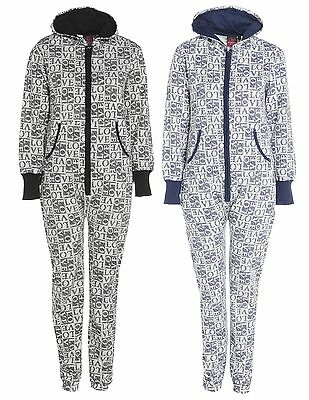 Womens Ladies LV Love Printed Zip Up Brushed Fleece Inside Hooded Onesiee