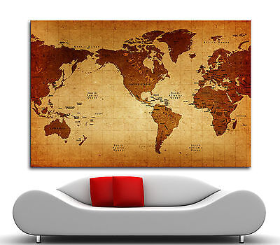 Canvas Giclee Home Wall Prints Vintage Old World Map Print Color Picture 2