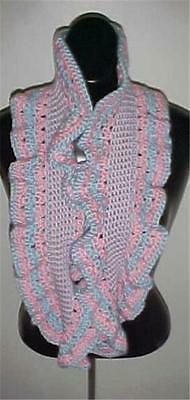 Hand Crochet Pink/Blue Circle Infinity Ruffled Scarf/Neckwarmer  #157...NEW