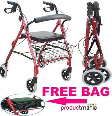 Lightweight Rollator 4 Wheel Walker Mobility Walking Frame Zimmer Disability Aid