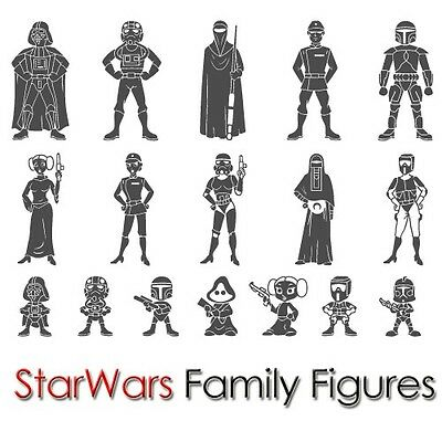 CUSTOM STAR WARS FAMILY STICKER FIGURE CAR WINDOW LAPTOP NOTEBOOK VINYL DECAL