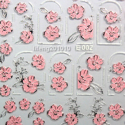 High Quality 3D Nail Art Stickers Decals Decoration Hot stamping Pink Flower E02