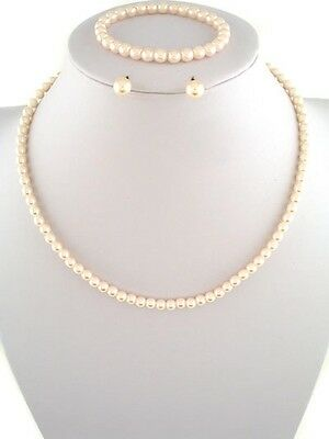 Gift Boxed 3pc Girl's Kids Faux Apricot Lt. Peach Necklace Wedding Set