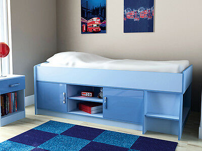 Ottawa 2 Tone High Gloss Doors Kids Cabin Bed with Storage With Mattress Options