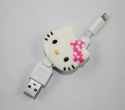 Cute Hello Kitty Retractable USB Data Line Charging Cable for iPhone 5 iPhone 6