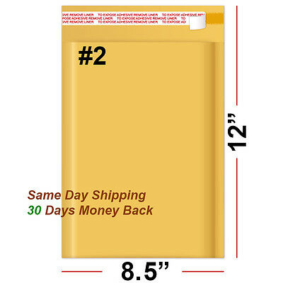 """500 #2 8.5x12 KRAFT BUBBLE PADDED MAILERS SELF SEAL ENVELOPES 8.5"""" x 12"""""""
