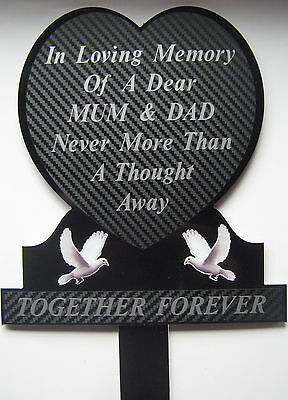 Memorial Plaque Grave Heart Personalised MUM & DAD In Loving Memory