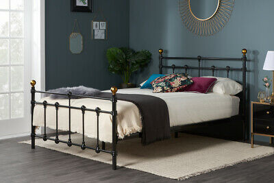 Victorian Metal Bed Frame Black Or Ivory with Memory Foam Mattress Options