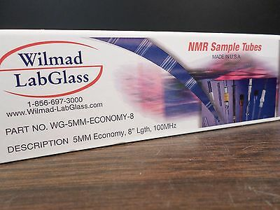 "WILMAD Lab Glass 5mm OD 8"" Length 100MHz Economy NMR Sample Tubes 5/Box"