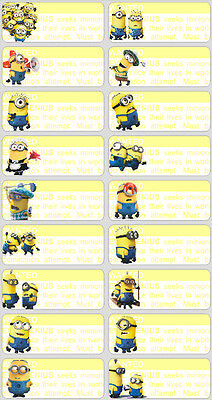 36 Minions Personalised name Label Sticker School book vinyl 4.6x1.8cm