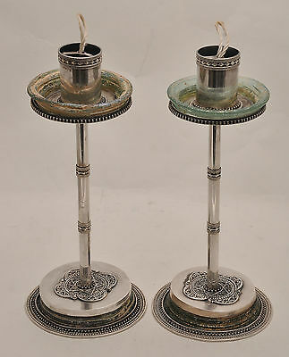 Antique Roman Glass Candlesticks Sterling Silver 925