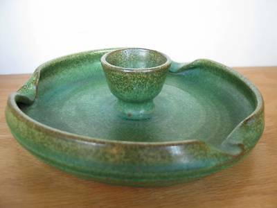 COLE OR OWEN POTTERY Ashtray Green Matte Unmarked Southern Art North Carolina