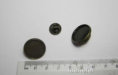 2 Antique Bronze Round Cabochon Setting Brooches fit 18 mm tie clutch pin back