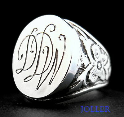 ANTIQUE SIGNET RING 18x15 3 INITIALS CUSTOM MADE HAND ENGRAVED SILVER BY JOLLER