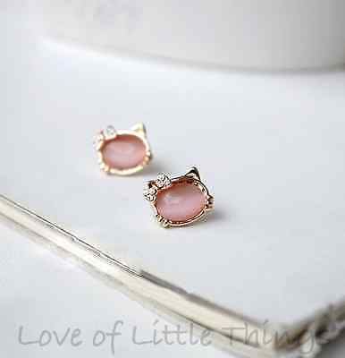 Hello Kitty Bow Stud Earrings Opal CZ Crystal 14K Gold Plated Cute Pink or Clear